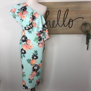 ASOS one shoulder ruffle floral scuba midi dress